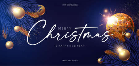 Happy New 2021 Year Shining holiday design with gold disko ball, fir tree branches, glossy toys, gifts and light. Party invitation