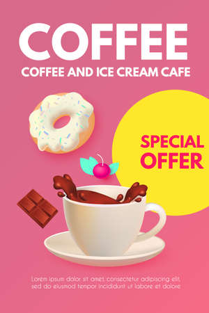 Cafe Ad Design Template. Coffee, Sweets and Ice Cream. Chocolate and Donut. Candy. Cute and Delicious