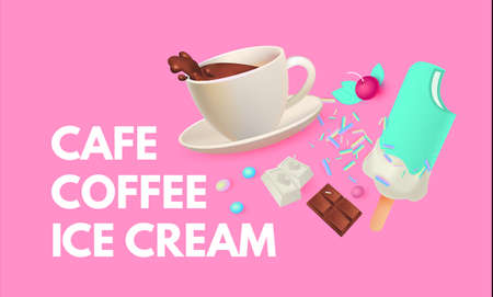 Coffee and Ice Cream. Cafe Ad Design Template. Sweets Shop. Gelato. Coffee to Go
