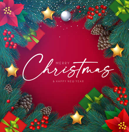 Merry Christmas Realistic shining holiday design with lettering, fir tree branches, cones, red berries, stars and lights