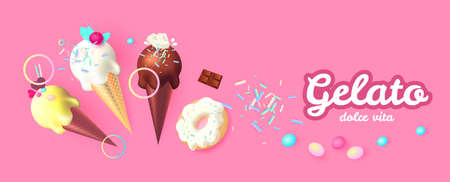 Realistic 3D Ice Cream Design Template. Mint, Creamy and Chocolate. Trendy Sweets