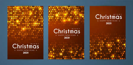 Merry Christmas and Happy New Yaer flyer template set with shining sequind, bokeh and light effect