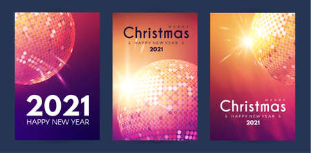 Merry Christmas and Happy New Yaer flyer template set with shining disco ball bokeh and light effect Illusztráció