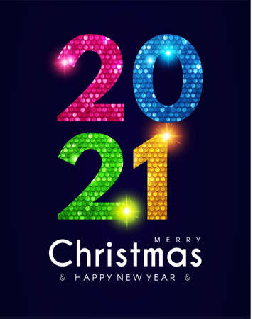 2021 Happy New Year banner with shining sequins effect. Countdown header with number