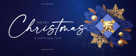 Merry Christmas design template with fir tree branch garland, glossy golden balls, elegant gold snowflakes. Illusztráció