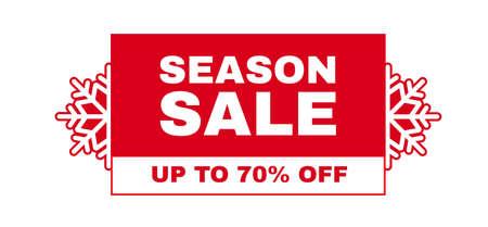 Christmas sale label. Season offer sticker design template with snowflakes Illusztráció