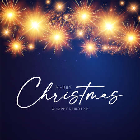 Merry Christmas design template with shining fireworks
