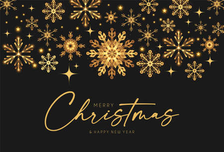 Merry Christmas Elegant holiday design with lettering and gold shining snowflakes