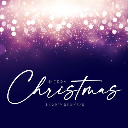 Merry Christmas design template with shining bokeh effect. Soft light