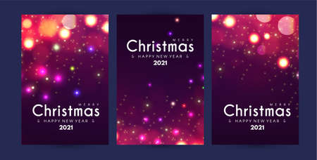 Merry Christmas and Happy New Yaer flyer template set with shining bokeh and light effect Illusztráció