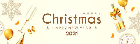 Merry Christmas and Happy New 2021 Year poster template with 3D realistic champagne glasses, snowflakes, clock and balls. Holiday header design