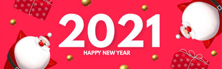 Happy New 2021 Year design template with 3D elements Santa Claus, gifts, snowflakes and balls