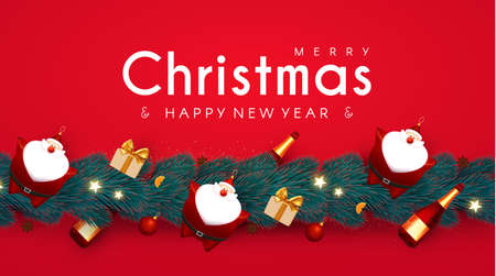 Merry Christmas and Happy New 2021 Year design template with 3D elements Santa Claus, gifts, champagne bottle, fir tree and balls