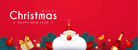 Merry Christmas and Happy New 2021 Year design template with 3D elements Santa Claus, gifts, fir tree and balls