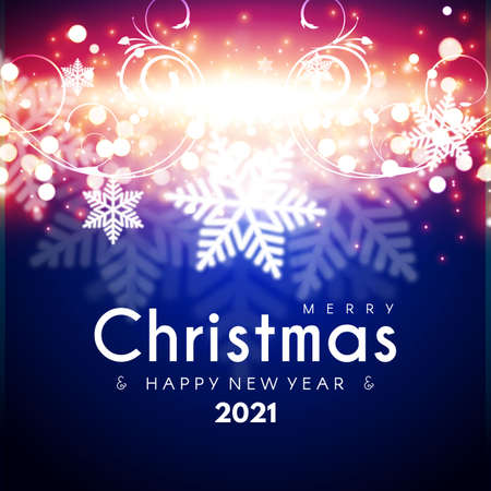 Merry Christmas and Happy New 2021 Year Shining Background. Elegant New Year Decoration with Stars, Snowflakes, Gold Garlands, Shining Lights and Bokeh Effect