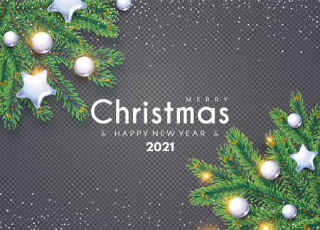 Merry Christmas Background with Fir Tree Branches and Glossy Toys on Transparent Background Illusztráció