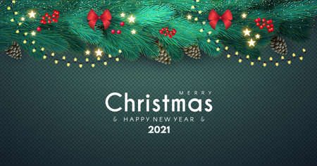 Merry Christmas Background with Fir Tree Branches, Cones, Bows, Berries,Shining Stars and Light Garland on Transparent Background