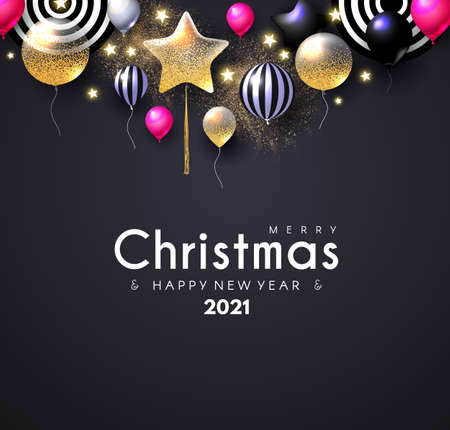 Merry Christmas and Happy New 2021 Year Shining Greeting Card with Realistic Glossy Balloons and Serpentine Illusztráció