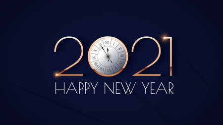 Happy new 2021 year Elegant gold text with clock and light. Minimalistic text template 向量圖像