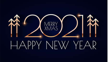 Happy new 2021 year Elegant gold text with light. Minimalistic text template 向量圖像