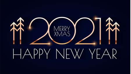 Happy new 2021 year Elegant gold text with light. Minimalistic text template Illusztráció