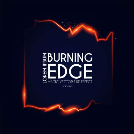 Burining ragged edge shining design. Fire and light effect. Shining banner 向量圖像