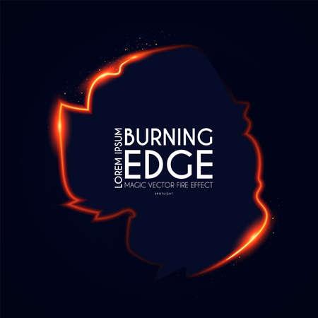Burining ragged edge shining design. Fire and light effect. Shining banner Illusztráció