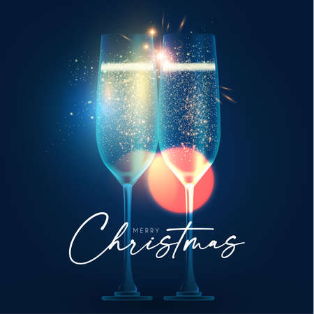 Merry Christmas and Happy New 2021 Year background with champagne glasses, lights and bokeh effect.