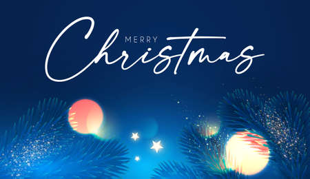 Merry Christmas and Happy New Year Holiday background with fir tree branches, bokeh effect and lights