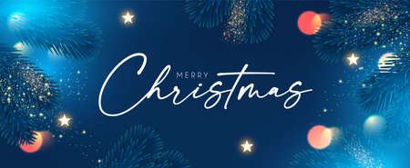 Merry Christmas and Happy New Year Holiday background with fir tree branches, bokeh effect and lights Stock fotó - 158186741