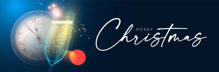 Merry Christmas and Happy New 2021 Year background with champagne glasses, clock, lights and bokeh effect Illusztráció