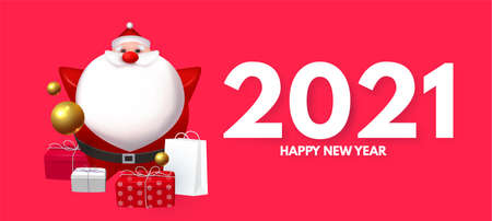 Happy New 2021 Year design template with 3D elements: Santa Claus, gifts, snowflakes and balls 向量圖像