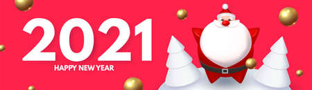 Happy New 2021 Year design template with 3D elements Santa Claus, gifts, fir tree and balls