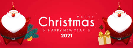 Merry Christmas and Happy New 2021 Year design template with 3D elements Santa Claus, gifts, fir tree and balls Stock fotó - 158186749