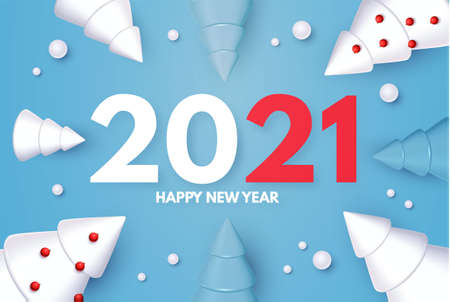 Happy New 2021 Year Holiday greeting with 3D fir trees and snow. Christmas cute design Illusztráció