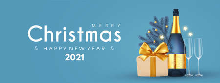 Merry Christmas and Happy New 2021 Year poster template with champagne bottle, glasses, fri tree branches and gift box. Festive header design Stock fotó - 158186751
