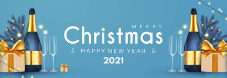 Merry Christmas and Happy New 2021 Year poster template with champagne bottle, glasses, fri tree branches and gift box. Festive header design