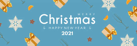 Merry Christmas and Happy New 2021 Year poster template with champagne glasses, snowflakes and gift boxes. Festive header design
