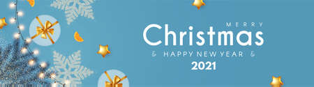 Merry Christmas and Happy New 2021 Year poster design template with gifts, champagne glasses, snowflakes, light garland ans fir tree branches