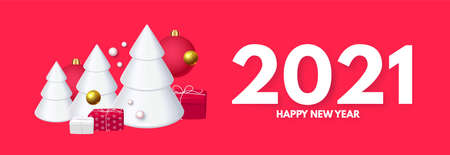 Happy New 2021 Year design template with 3D realistic elements fir trees, balls. snowflakes and gifts Illusztráció