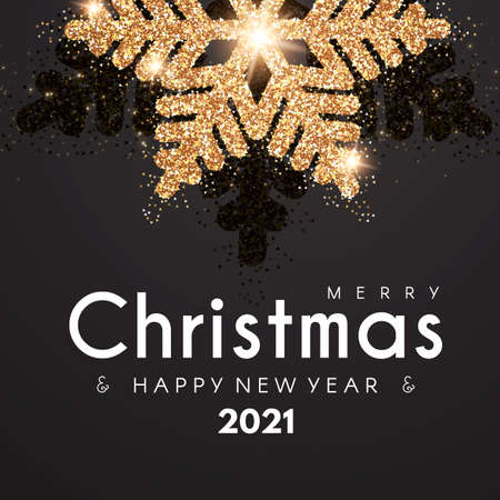 Merry Christmas and Happy New 2021 Year elegant holiday design template with gold shining snowflakes