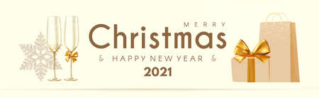 Merry Christmas and Happy New 2021 Year poster template with champagne glasses, snowflakes and gift box. Festive header design