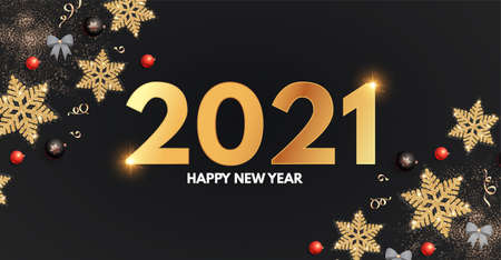 2021 Happy New Year Elegant holiday decoration with gold snowflakes, red and black balls, year numbre and lights