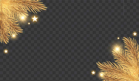Christmas Shining holiday background with gold fir tree branches, stars and lights