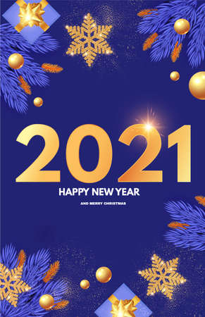 Happy New 2021 Year design template with gifts, fir tree branches, glossy golden balls and gold snowflakes. Illusztráció