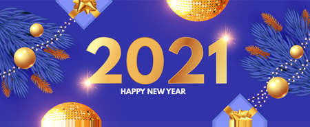 Happy New 2021 Year design template with gifts, fir tree branches, glossy golden balls and gold snowflakes. 向量圖像