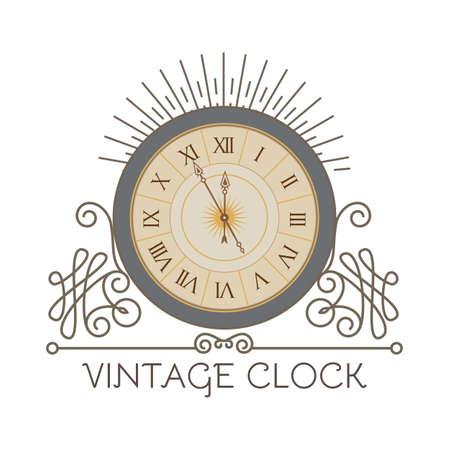 Antique clock with elegant frame. Old fashioned design element. Vintage watch.