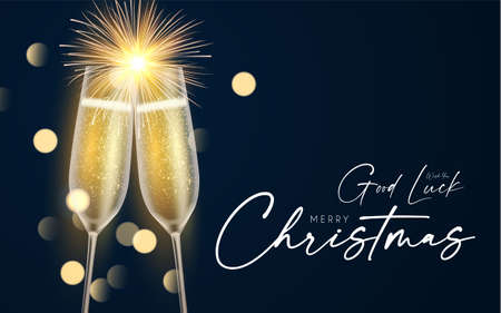 Shining champagne. Merry Christmas and Happy New Year design template with gold champagne glasses, light and bokeh effect 向量圖像