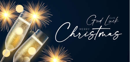 Shining champagne. Merry Christmas and Happy New Year design template with gold champagne glasses, light and bokeh effect Illusztráció