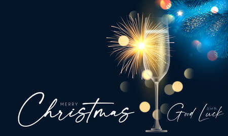 Shining champagne. Merry Christmas and Happy New Year design template with gold champagne glasses, light, fir tree branches and bokeh effect 向量圖像